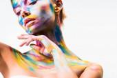 """Постер, картина, фотообои """"привлекательная девушка с красочные светлые боди-арт прикосновения шеи, изолированные на белом фоне"""""""