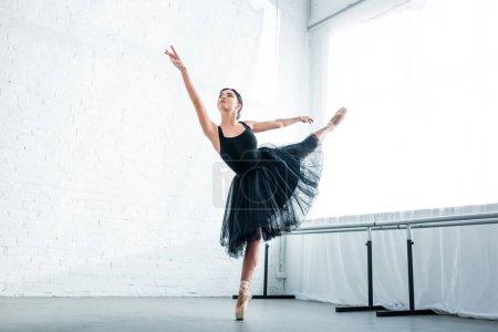 beautiful graceful young ballerina dancing in ballet studio
