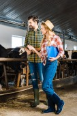 smiling couple of farmers checking cows in stable