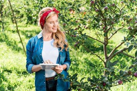 attractive farmer examining harvest in apple garden at farm with tablet