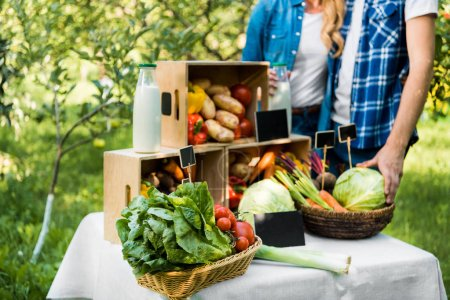 cropped image of couple of farmers standing near boxes with ripe vegetables at farmer market