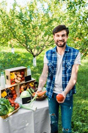 handsome smiling farmer showing ripe ecological vegetables at farmer market