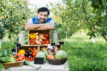 handsome farmer leaning on boxes with vegetables at farmer market