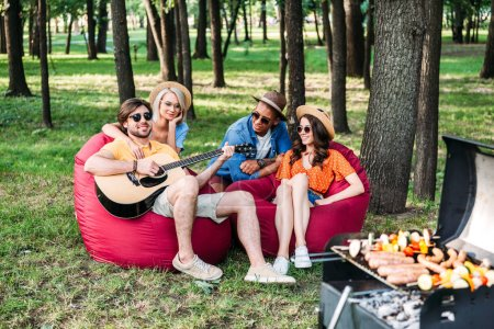 interracial young friends with guitar having barbecue in park on summer day