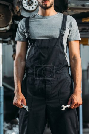 cropped view of professional auto mechanic holding two wrenches in workshop