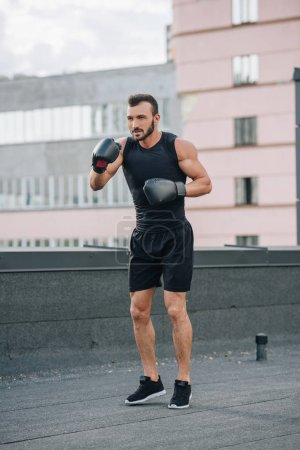 handsome boxer training on roof with black boxing gloves