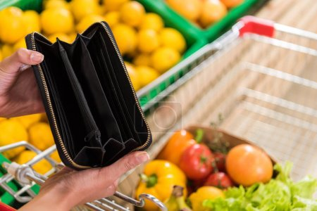 cropped image of woman showing empty wallet near shopping trolley in grocery store