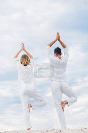 rear view of couple practicing yoga in tree pose (Vrksasana) on sandy dune