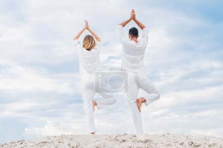 rear view of couple in white clothes practicing yoga in tree pose (Vrksasana) on sandy dune