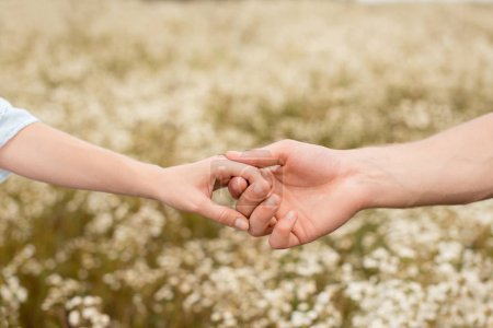 Photo for Partial view of lovers holding hands with wild flowers on background - Royalty Free Image