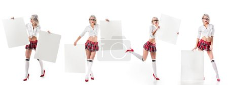 collage photo of sexy blond woman in schoolgirl uniform with blank banners isolated on white
