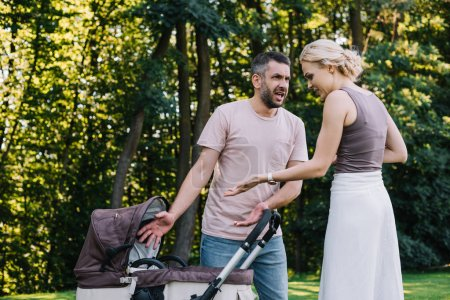 parents screaming and gesturing near baby carriage in park