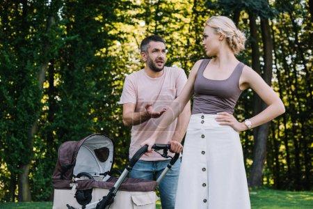 Photo pour Parents se quereller près de Landau dans le parc - image libre de droit