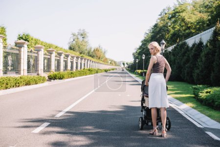 rear view of mother walking with baby carriage in park