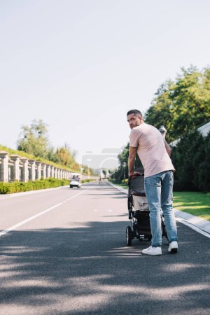 back view of father walking with baby carriage on road in park