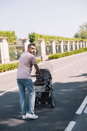 back view of father walking with baby carriage in park