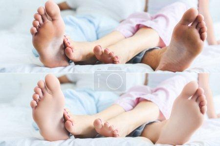 Photo pour Collage de pieds de jeune couple dormant ensemble sur le lit - image libre de droit