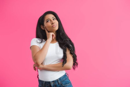 Photo for Portrait of pensive african american woman looking away isolated on pink - Royalty Free Image