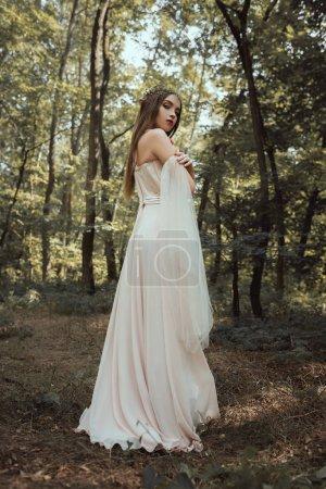 attractive mystic elf posing in elegant dress in forest