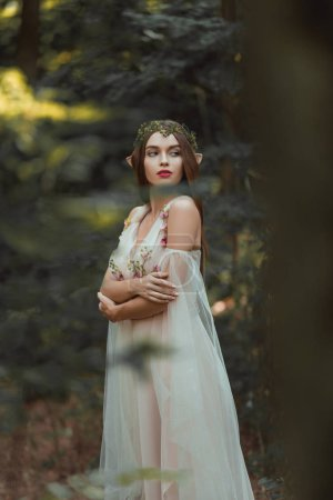 attractive girl with elf ears walking in fantasy forest
