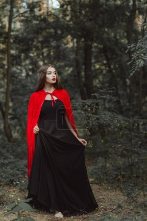 attractive mystic woman in black dress and red cloak walking in woods
