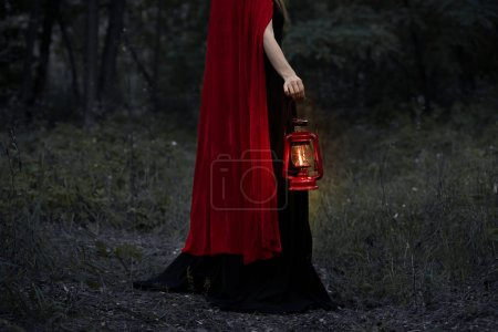 cropped view of mystic girl with kerosene lamp walking in dark forest