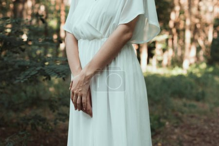 cropped view of girl in white dress posing in forest