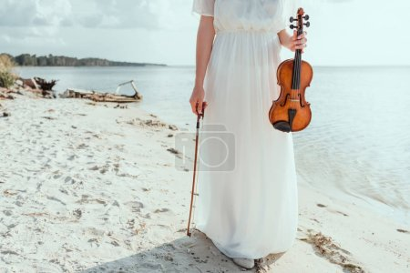 cropped view of girl in elegant dress holding violin on beach near sea