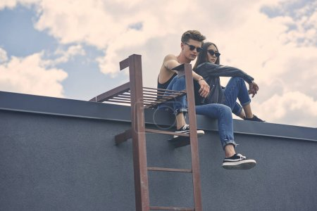 stylish multicultural couple in sunglasses sitting on roof with ladder