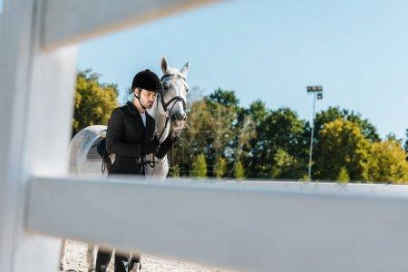 Photo pour Découvre à travers la clôture sur le beau mâle debout équestre près de white horse à horse club - image libre de droit