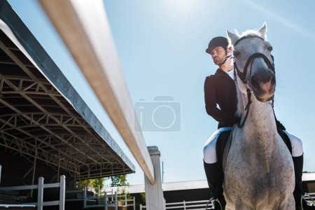 Photo pour Faible angle vue du beau mâle équitation équestre cheval à horse club - image libre de droit