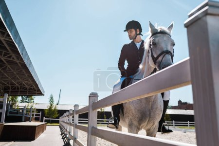 handsome male equestrian riding horse near fence at horse club