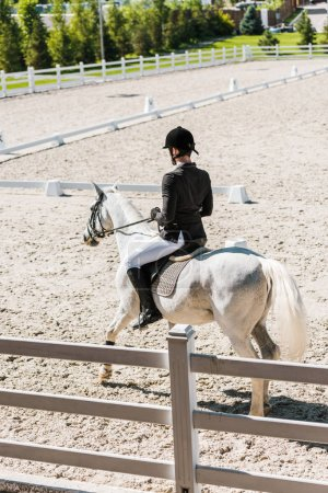 back view of  male equestrian riding horse at horse club
