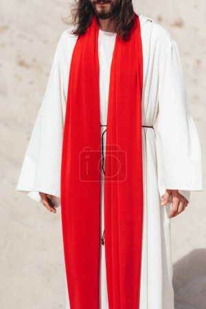 cropped image of Jesus in robe and red sash standing in desert