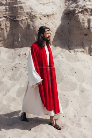 Photo for Side view of Jesus in robe, red sash and crown of thorns walking in desert - Royalty Free Image