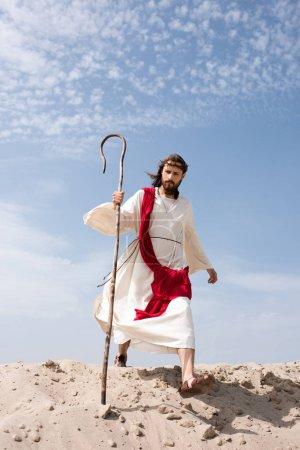 Foto de Jesús en Bata, faja roja y corona de espinas, caminando en el desierto con el personal - Imagen libre de derechos