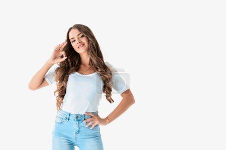 happy stylish girl showing ok sign, isolated on white