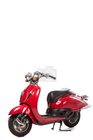 red retro scooter isolated on white