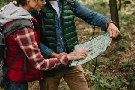 Photo for Partial view of man and woman looking for destination on map while hiking in forest together - Royalty Free Image