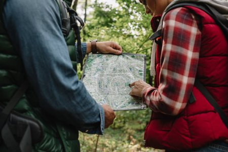 cropped shot of man and woman looking for destination on map while hiking in forest together