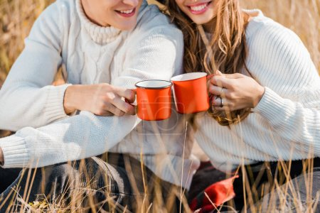 cropped view of young couple holding cups on rural meadow