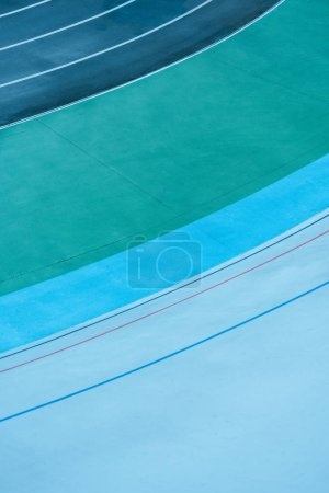 top view of colorful lines at track, geometric background