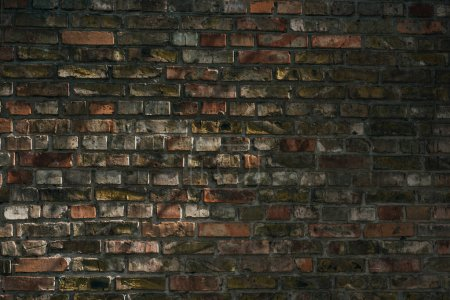 old rough weathered brick wall background, full frame view