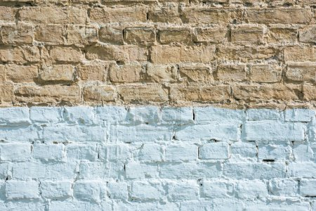 Photo for Horizontal brown and white brick wall textured background - Royalty Free Image