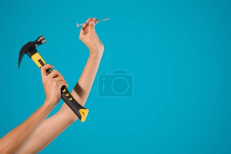cropped shot of woman holding hammer and nail in hands isolated on blue