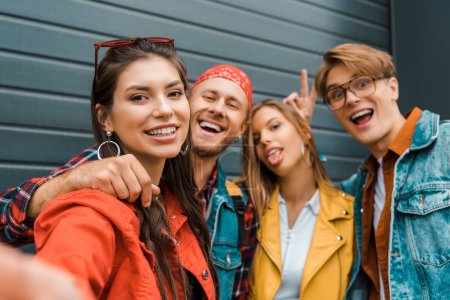 Photo for Beautiful stylish hipsters taking selfie together - Royalty Free Image