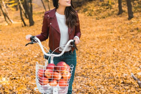 partial view of fashionable girl in leather jacket carrying bicycle with basket full of red apples in autumnal park