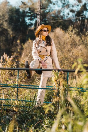 selective focus of elegant woman in sunglasses, trench coat and hat sitting on railing near pond