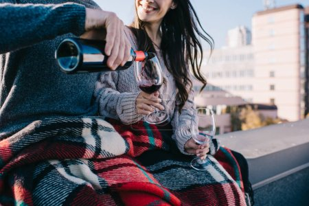 cropped shot of young couple covering in plaid on rooftop and pouting red wine into glasses