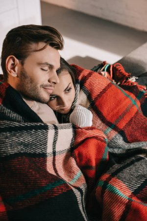 Photo for High angle view of happy young couple relaxing on couch and covering with plaid - Royalty Free Image